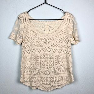 Anthropologie Meadow Rue Cream Sheer Mesh Lace Top
